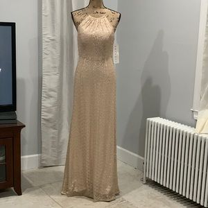 Bill Levkoff heavenly sequined floor length gown 8